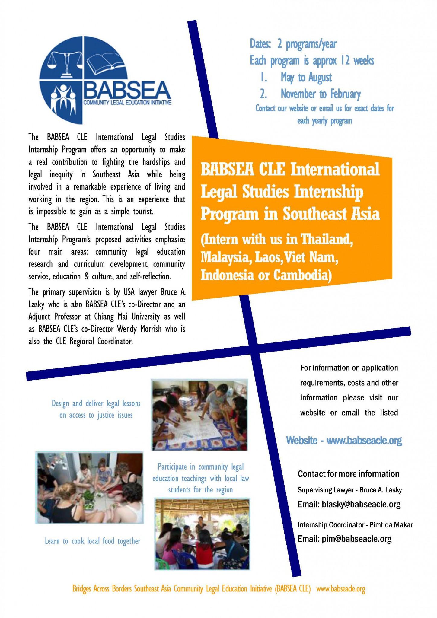 BABSEA CLE Legal Studies International Externship Flyer
