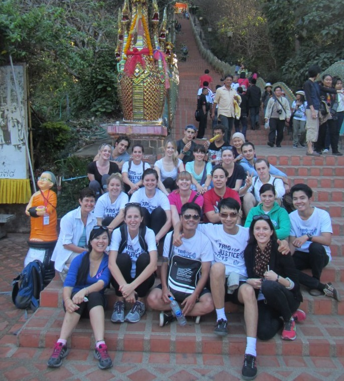 Staff, lecturers, volunteers and interns at Wat Doi Suthep in Chiang Mai, Thailand